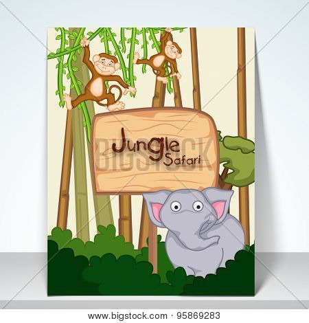 Stylish poster, banner and flyer for jungle sfari with kiddish animal on forest view.