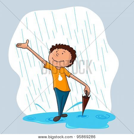 Cute little boy with closed umbrella, enjoying in rains for Monsoon Season.