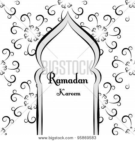 Black And White Ramadan Greetings Background. Ramadan Kareem Means. Mosque.