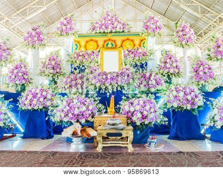 Flower Decoration In Front Of Thai Funeral