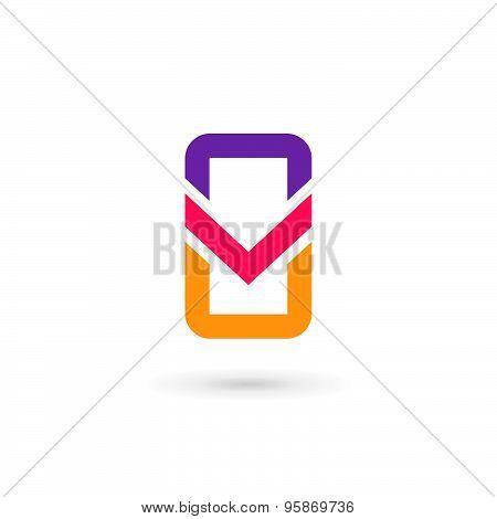 Mobile Phone App Letter V Logo Icon Design Template Elements