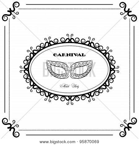 Black And White Carnival Backgraund, Vintage Mask, Mask Party