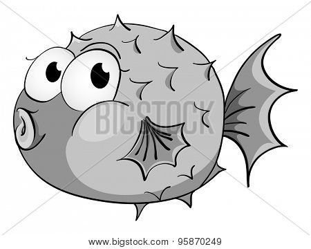 Chubby fish in black and white