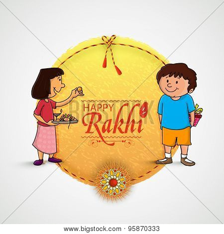Beautiful frame with illustration of cute little sister and brother preparing for Rakhi, Indian festival of brother and sister love, Happy Raksha Bandhan celebration.