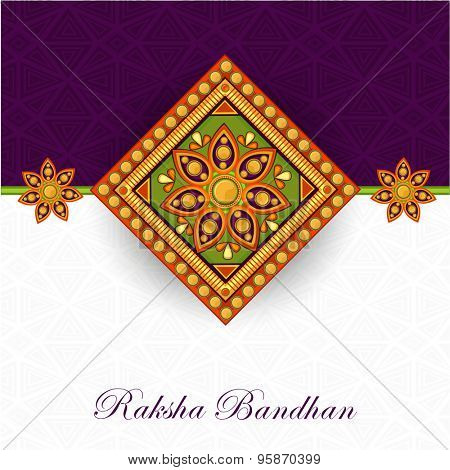 Beautiful floral design decorated rakhi on stylish purple and white background for Indian festival, Raksha Bandhan celebration.