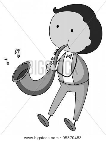 Man playing saxophone in black and white