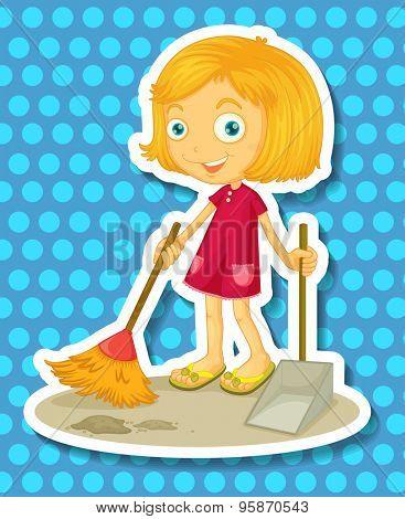 Cute girl sweeping the floor