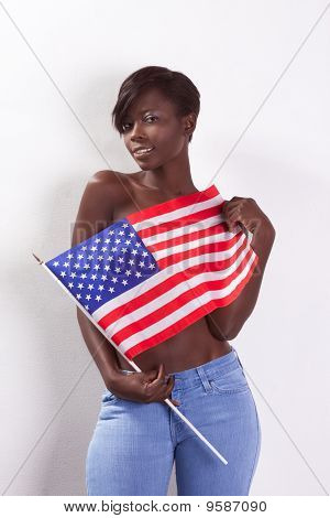 Topless Black Woman With American National Flag