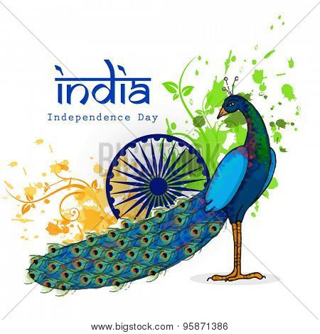 Indian national bird Peacock with Ashoka Wheel on saffron and green colors floral pattern background for Independence Day celebration.