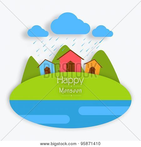 Creative colorful huts on nature background in rains for Happy Monsoon Season.