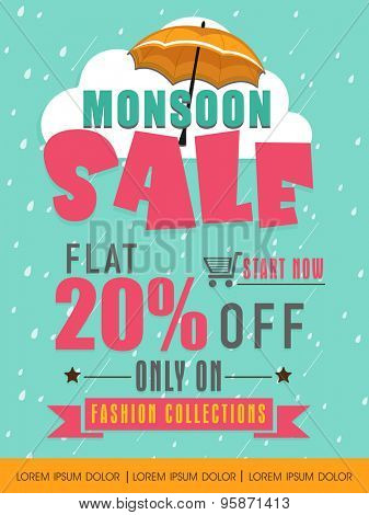 Monsoon Sale with flat 20% discount offer on fashion collection, Creative template, banner or flyer design on falling raindrops background.