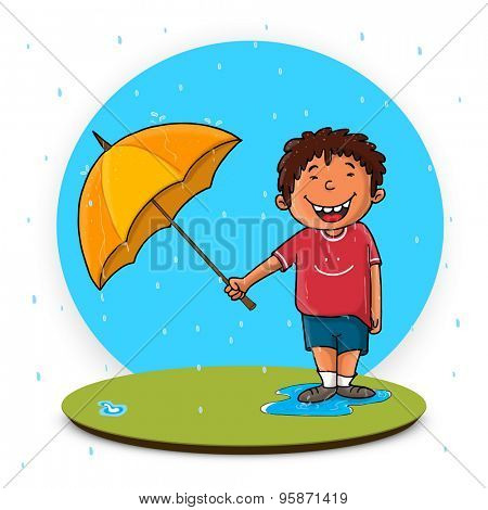 Cute little boy holding an umbrella enjoying rainy day for Monsoon Season concept.