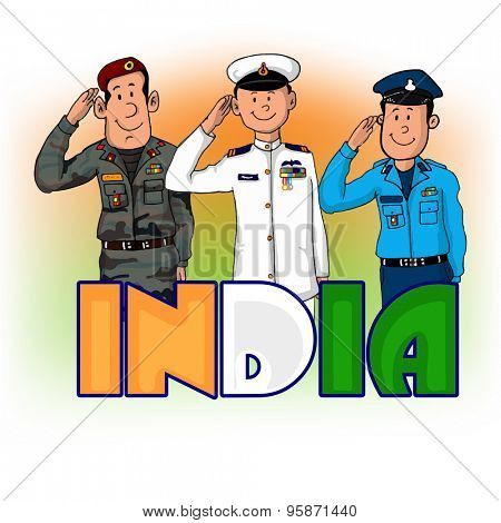 Illustration of saluting army officers with national flag color text India for Indian Independence Day.