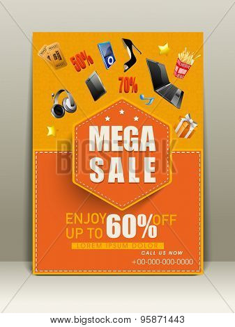 Stylish flyer for mega sale with 60 %  off on different products.