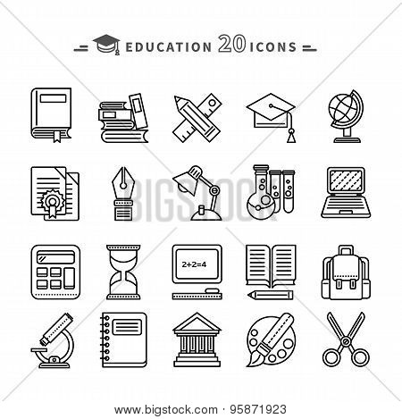 Set of Lines Education Icons on White Background