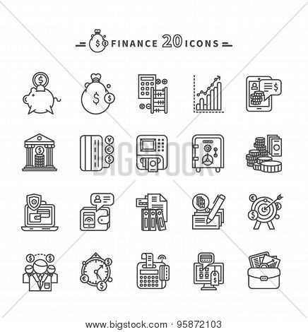 Set of Outline Finance Icons on White Background