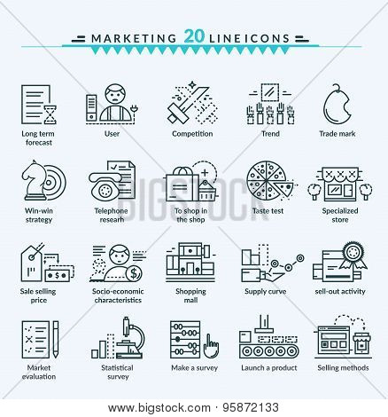 Thin Lines Web Icons Set of Marketing