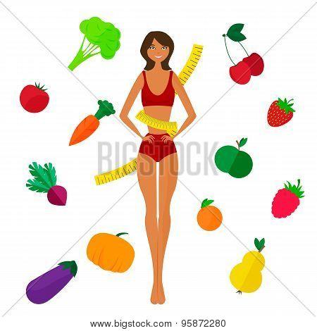 Slim black girl, fresh fruits and vegetables. Proper lifestyl