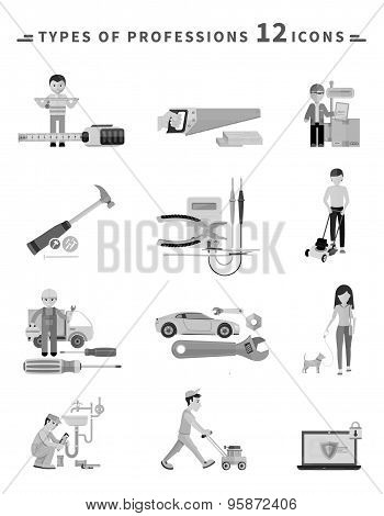 Icons Set of Tools Series Black on White