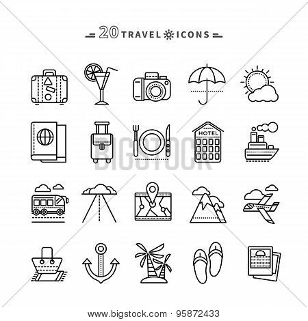 Set of Outline Travel Icons on White Background