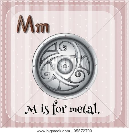 Flashcard letter M is for metal