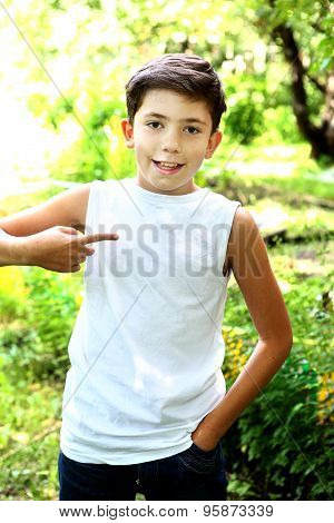 handsome boy in white tshirt free of inscription