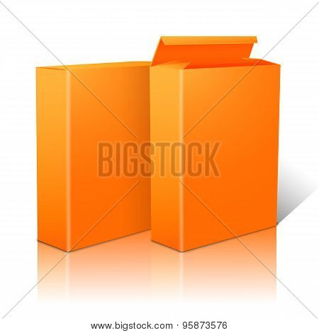 Two realistic bright orange blank paper packages for cornflakes, muesli, cereals etc. Vector