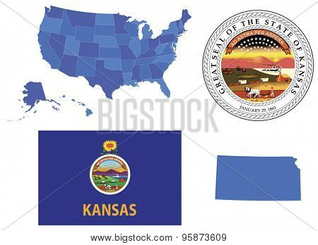 Vector illustration of Kansas state, contains: High detailed map of USA High detailed flag of state Kansas High detailed great seal of state Kansas State Kansas, shape