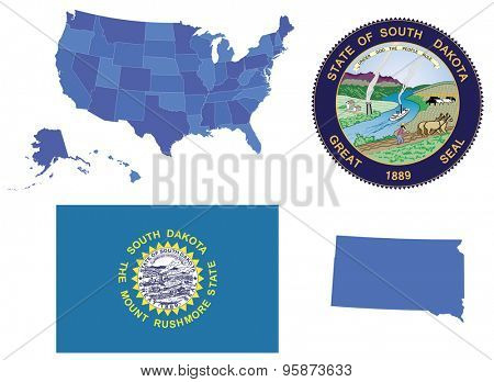 Vector Illustration of South Dakota, contains: High detailed map of USA High detailed flag of state South Dakota High detailed great seal of state South Dakota State South Dakota, shape
