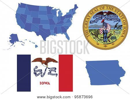 Vector Illustration of Iowa state, contains: High detailed map of USA High detailed flag of state Iowa High detailed great seal os state Iowa State Iowa, shape