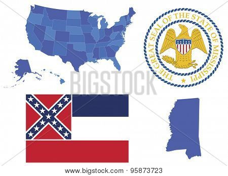 Vector Illustration of state Mississippi contains: High detailed map of USA High detailed flag of state Mississippi High detailed great seal of state Mississippi State Mississippi, shape
