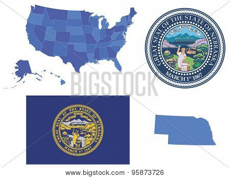 Vector Illustration of Nebraska state, contains: High detailed map od USA High detailed flag of state Nebraska High detailed great seal of state Nebraska State Nebraska,shape