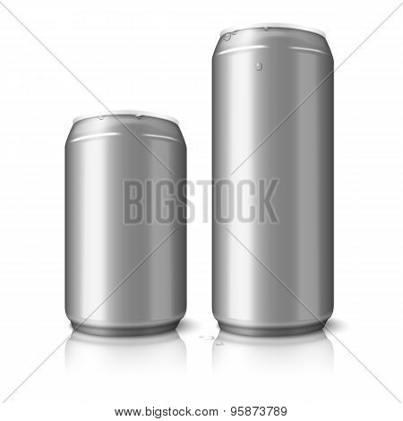 Two blank aluminum beer cans isolated on white background, with place for your design and branding.