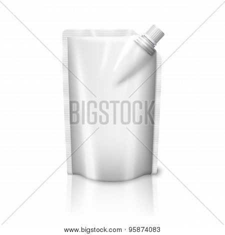 Blank white realistic plastic pouch with cap