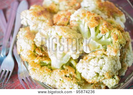 Fried Cauliflower Closeup On The Plate On A Table