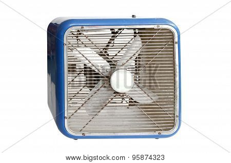 Blue retro electric fan on white background