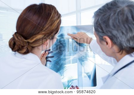 Rear view of concentrated medical colleagues examining x-ray together in the hospital