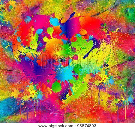 Splattered paint. Abstract background resembling wet splattered paint pattern.