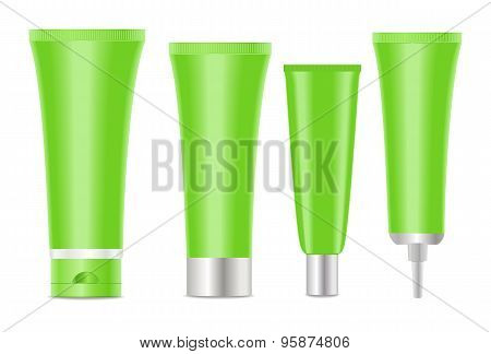 Green blank cosmetic tubes  on white background.