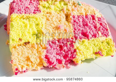 Colorful Checkered Piece Of Cake