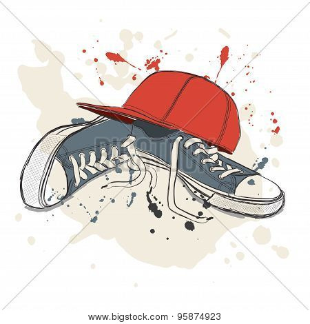 Drawing Vector Illustration With Sneakers And Baseball Cap