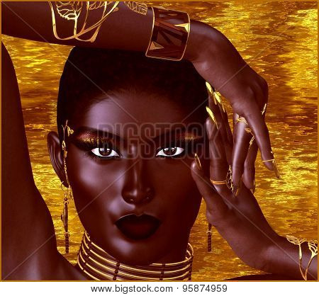 A beautiful young African woman wearing gold jewelry against a gold abstract background. A unique di