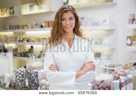 Portrait of smiling beautician at a beauty salon