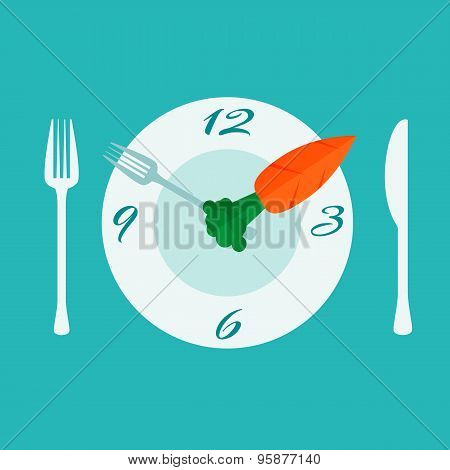 Plate with cutlery - fork and knife. Time to eat. Diet