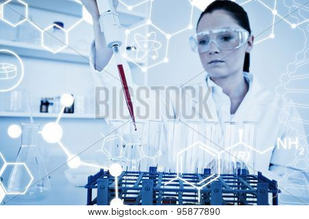 Science graphic against pretty female biologist holding a manual pipette with sample from test tubes