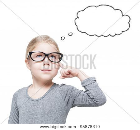 Smart Beautiful Little Girl In Glasses Thinking About Something