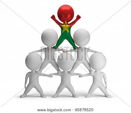 3d small people standing on each other in the form of a pyramid with the top leader Burkina Faso
