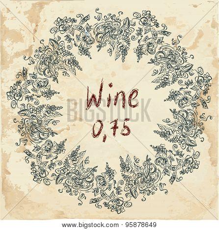 Wine Label Retro Design With Grapevine