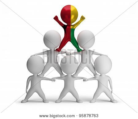 3d small people standing on each other in the form of a pyramid with the top leader Guinea-Bissau