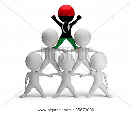 3d small people standing on each other in the form of a pyramid with the top leader Libya